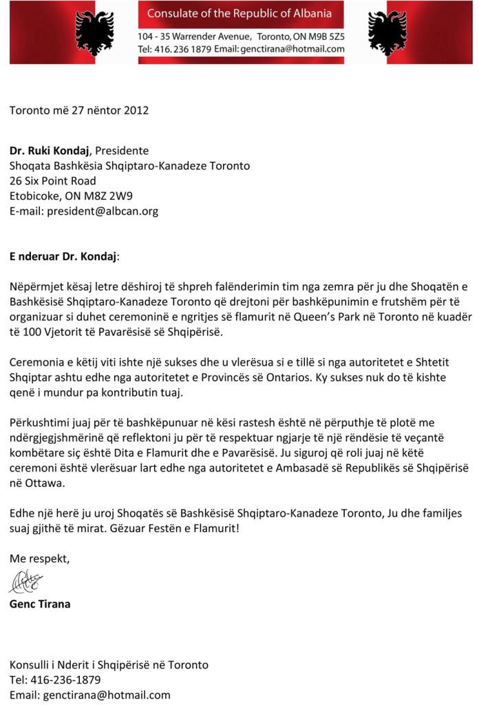 Albanian Honorary Consul in Toronto - Falenderim per Dr