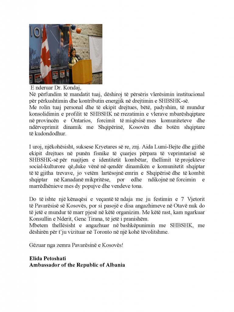 Ambasadorja shqiptare 2015