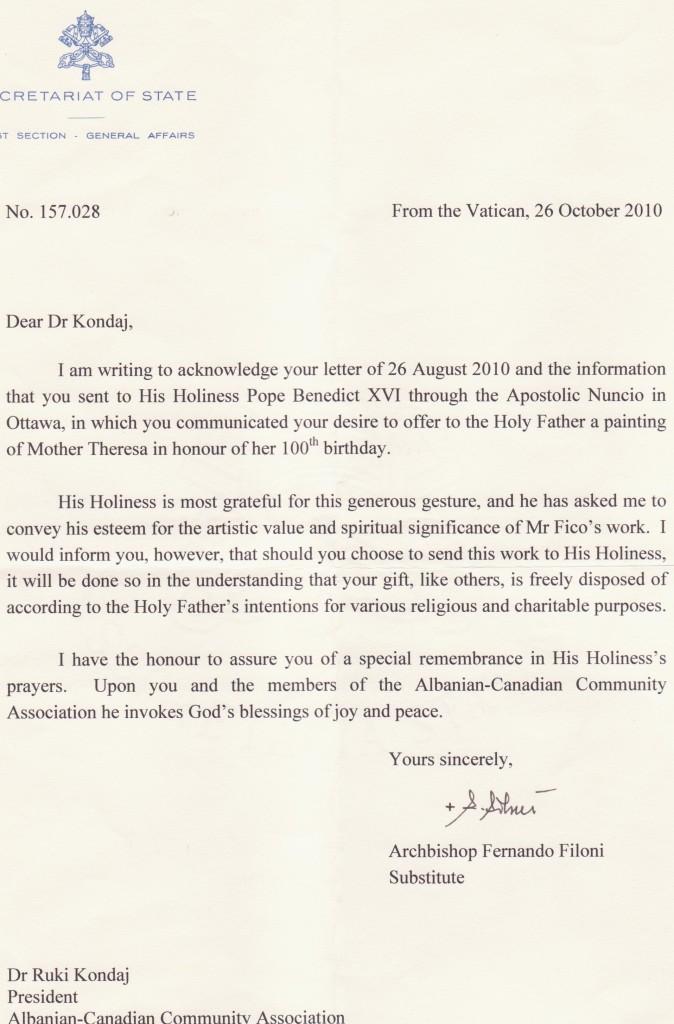 letra 2.Mirenjohje nga Papa