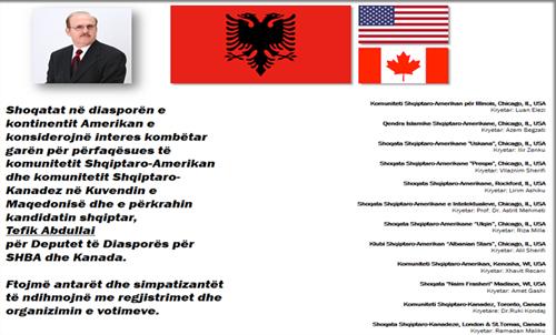 Votoni z. Tefik Abdullai, kandidat i parlamentit <br>të Maqedonisë për diasporën në SHBA e Kanada